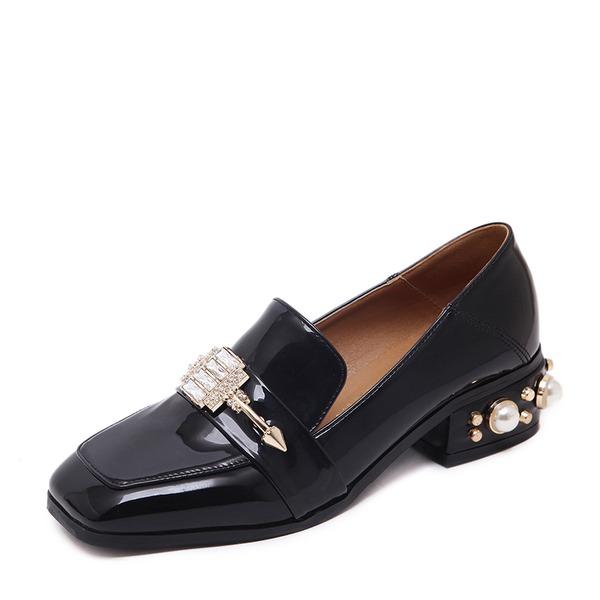 Kadın PU Kalın Topuk Kapalı Toe Ile Mücevher Topuk ayakkabı