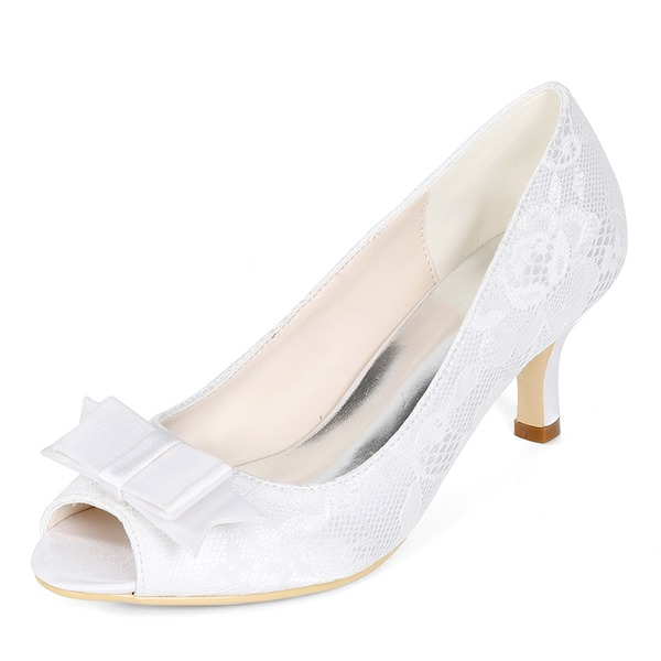 Women's Lace Stiletto Heel Peep Toe Pumps With Bowknot