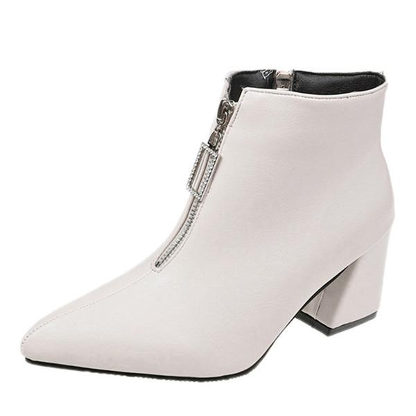 Vrouwen PU Chunky Heel Laarzen met Rits schoenen