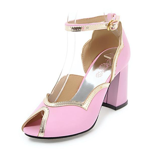 Donna Similpelle Tacco spesso Sandalo con Fibbia scarpe