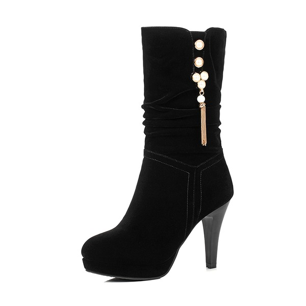 Women's Suede Stiletto Heel Pumps Platform Boots Mid-Calf Boots With Rhinestone Tassel shoes