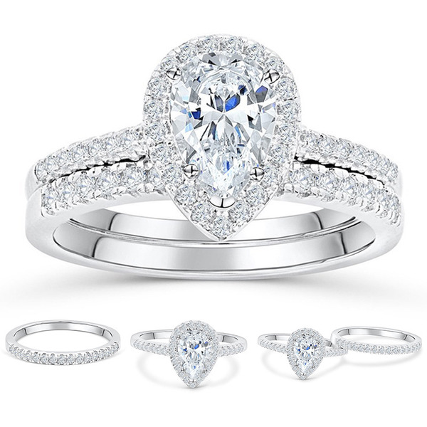 925 Sterling Silver With Pear Cubic Zirconia Rings/Bridal Sets
