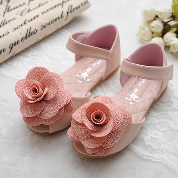 Jentas Titte Tå Leather flat Heel Flate sko Flower Girl Shoes med Velcro Blomst
