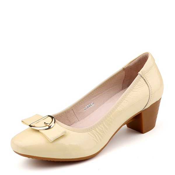 Kvinder Ægte Læder Stor Hæl Pumps Lukket Tå med Bowknot sko
