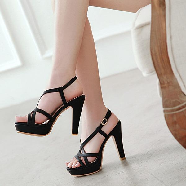 Женщины кожа Устойчивый каблук Сандалии На каблуках Платформа с В дырочку обувь