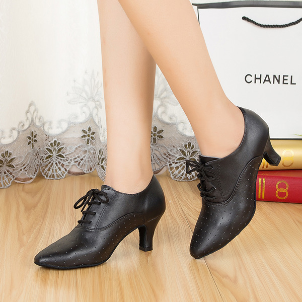 Women's Real Leather Pumps Ballroom Swing With Lace-up Dance Shoes