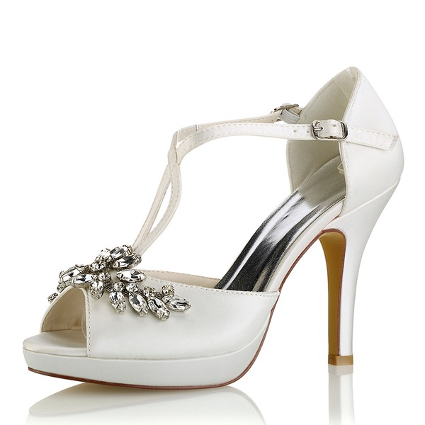 4e38edbfeb78 Women s Silk Like Satin Stiletto Heel Platform Pumps Sandals With Crystal