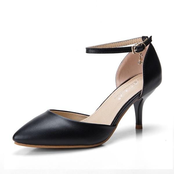 Femmes Similicuir Talon stiletto Sandales Escarpins Bout fermé avec Cristal Boucle chaussures