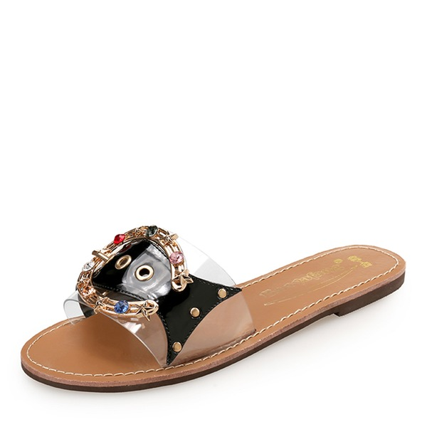 Mulheres PU Sem salto Sem salto Peep toe Sapatos abertos Chinelos com Strass Rivet sapatos