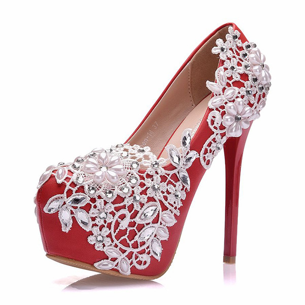 Vrouwen Kunstleer Stiletto Heel Closed Toe Pumps met Imitatie Parel Strass Stitching Lace