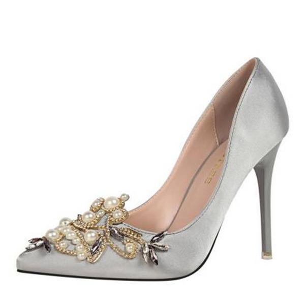 Femmes Satiné Talon stiletto Escarpins Bout fermé avec Strass Perle d'imitation chaussures