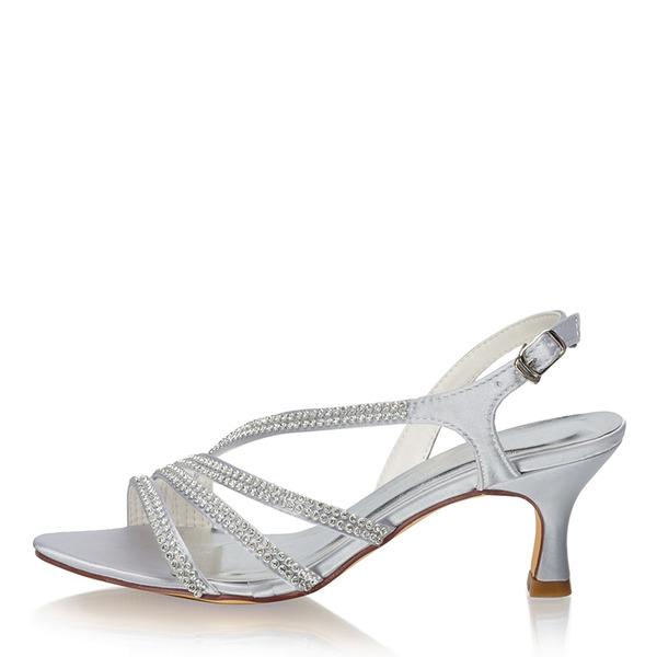 Women's Silk Like Satin Stiletto Heel Peep Toe Pumps With Crystal