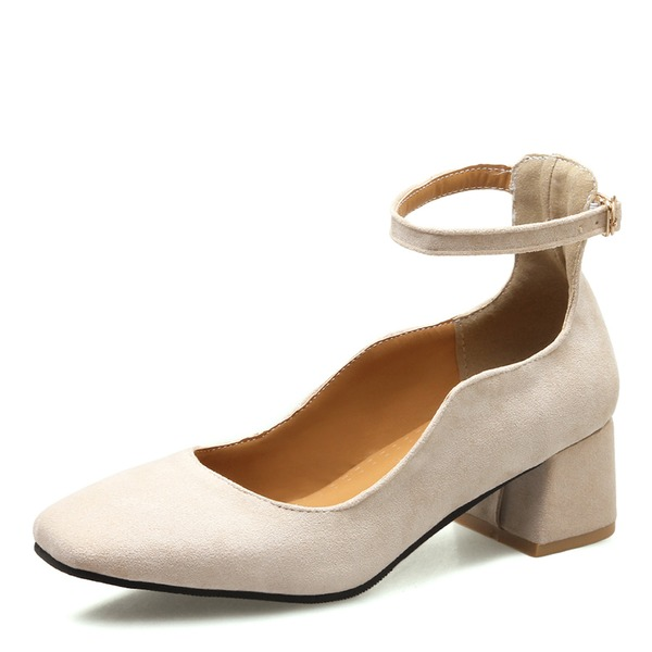Women's Suede Chunky Heel Pumps Closed Toe Mary Jane With Buckle shoes