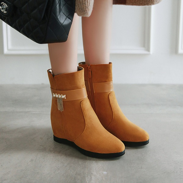 Women's Leatherette Wedge Heel Boots Ankle Boots أحذية
