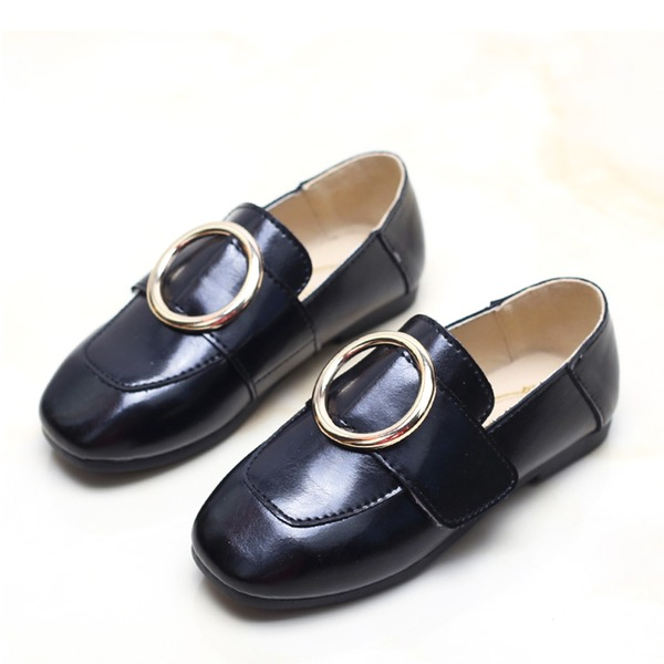 Girl's Closed Toe Loafers & Slip-Ons Leatherette Flat Heel Flats With Buckle