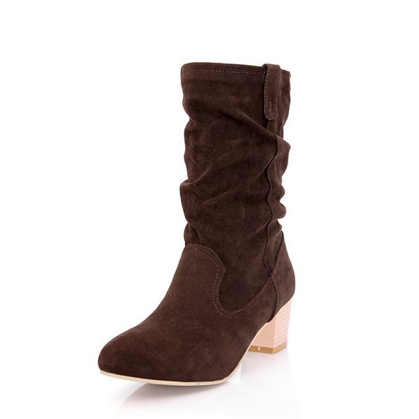 Naisten Mokkanahka Chunky heel Avokkaat Kengät Mid-calf saappaat kengät