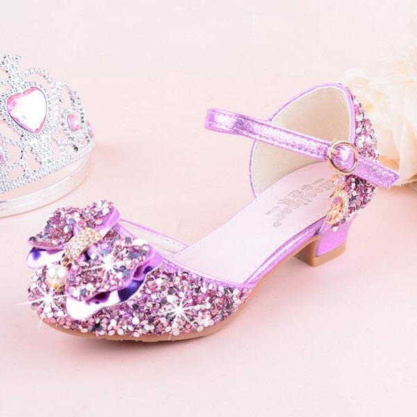 Mädchens Round Toe Geschlossene Zehe Leder funkelnden Glitter niedrige Ferse Flache Schuhe Blumenmädchen Schuhe mit Bowknot