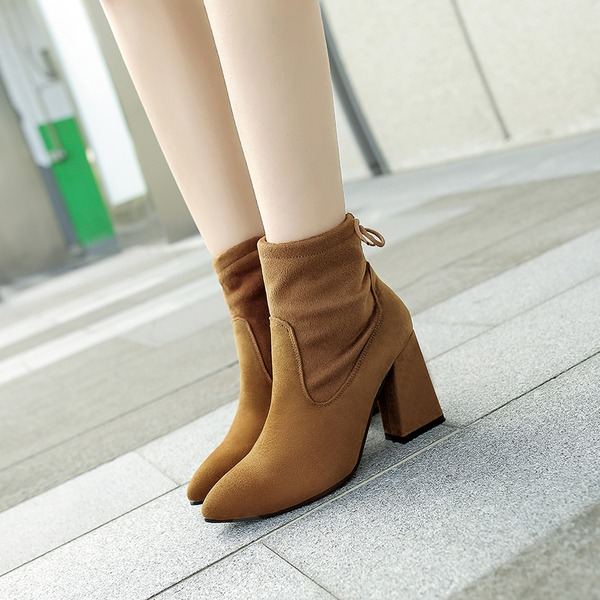 Women's Suede Chunky Heel Closed Toe Boots Ankle Boots shoes