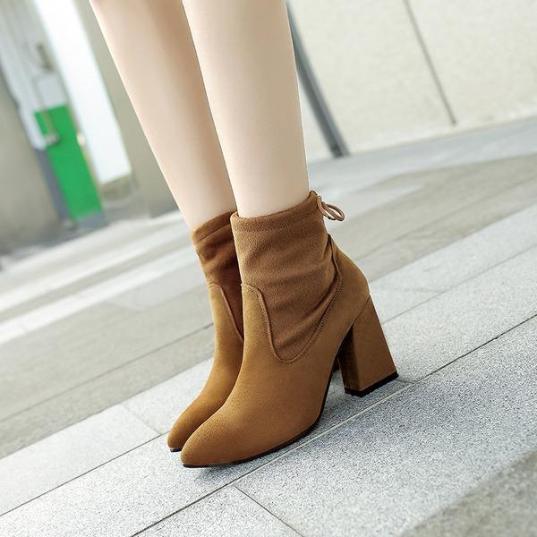 Mulheres Camurça Salto robusto Fechados Botas Bota no tornozelo sapatos
