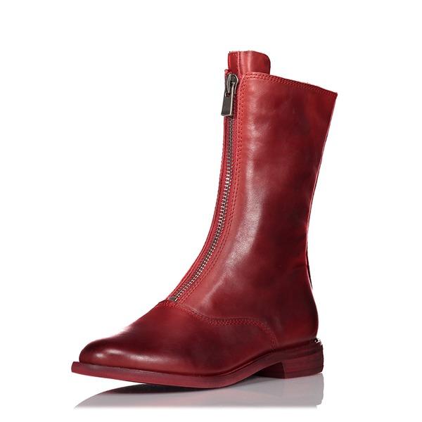 De mujer Piel Tacón plano Planos Botas Botas longitud media con Cremallera zapatos