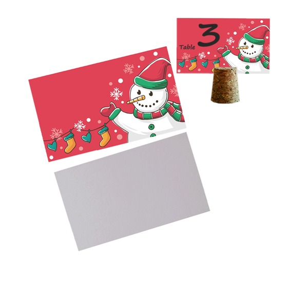 50pcs/set Snowman Blank Cards DIY New Year Party Decoration Materials - 9 x 5.5 cm (Set of 50)