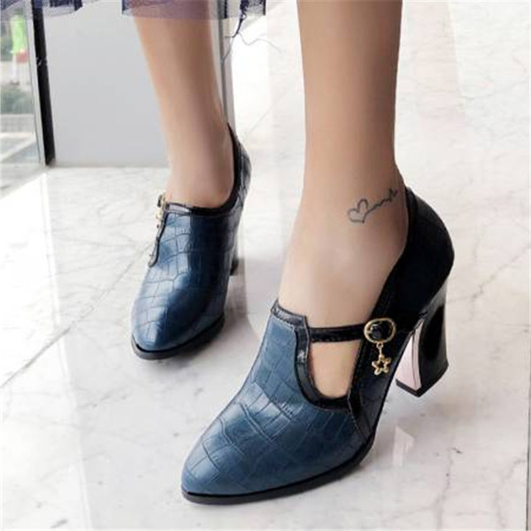 Women's Leatherette Chunky Heel Ankle Boots With Buckle shoes