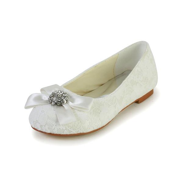 Fille de Bout fermé Dentelle Satin talon plat Chaussures plates Chaussures de fille de fleur avec Bowknot Strass