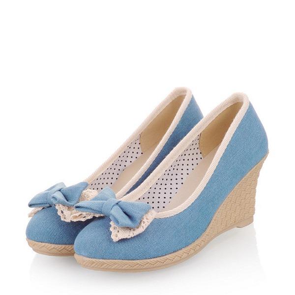 Kadın Denim Dolgu Topuk Pompalar Kapalı Toe Takozlar Ile İlmek ayakkabı