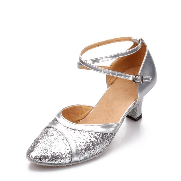 Mulheres Couro Espumante Glitter Salão de Baile Sapatos de dança