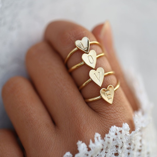 Letter Alloy Women's Fashion Rings (Sold in a single piece)