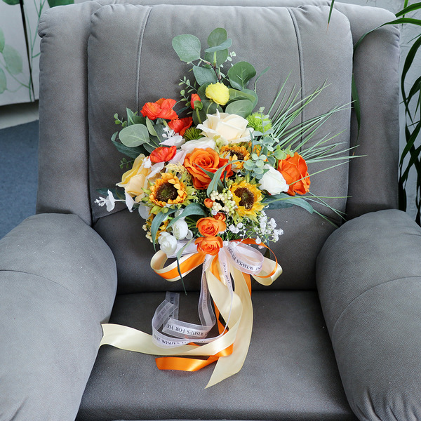 Güzel Serbest çalışma ipek Çiçek Gelin buketleri - Gelin buketleri