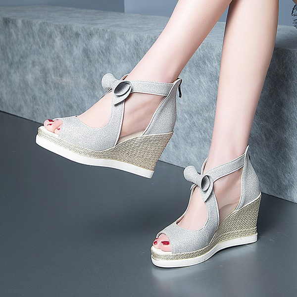 Mulheres Microfiber Læder Plataforma Bombas Calços com Bowknot sapatos