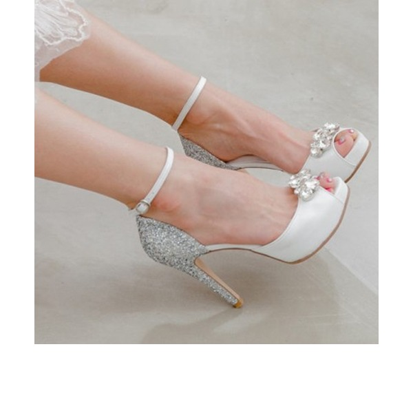 Kvinnor Äkta läder Stilettklack Peep Toe Plattform Sandaler Beach Wedding Shoes med Strass Glittrande Glitter