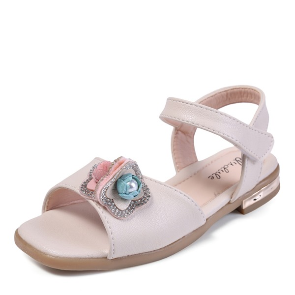 Girl's Peep Toe Leatherette Flat Heel Sandals Flats Flower Girl Shoes With Beading Velcro Flower