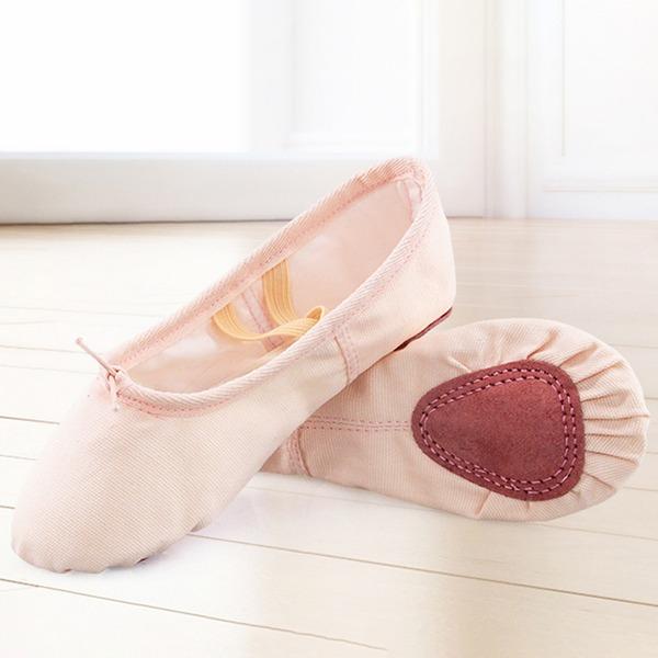 Kadın Tuval Daireler Bale Dans Ayakkabıları