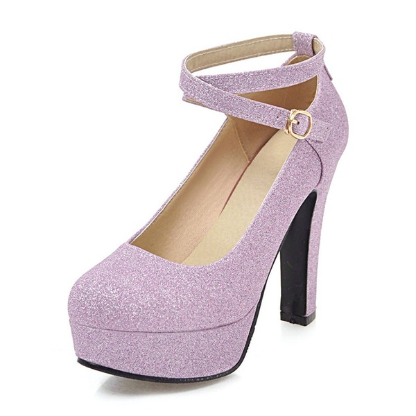 Women's Sparkling Glitter Chunky Heel Pumps Platform With Buckle shoes