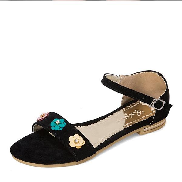 Vrouwen Suede Flat Heel Sandalen Flats met Bloem schoenen