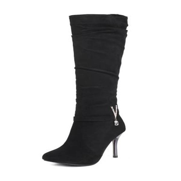 De mujer Ante Tacón stilettos Salón Botas Botas a la rodilla con Rhinestone Otros zapatos