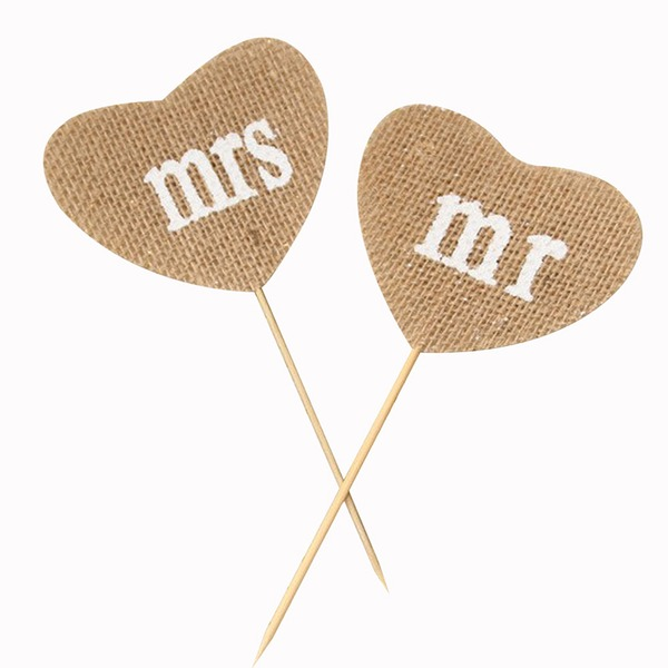 "Simple/""Mr. & Mrs."" Lino Accesorios decorativos (juego de 2)"