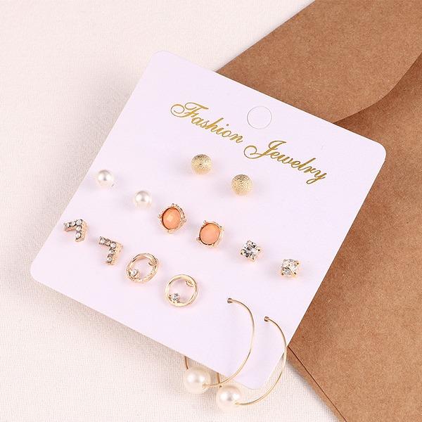 Stylish Alloy Rhinestones Imitation Pearls Women's Fashion Earrings (Set of 7)
