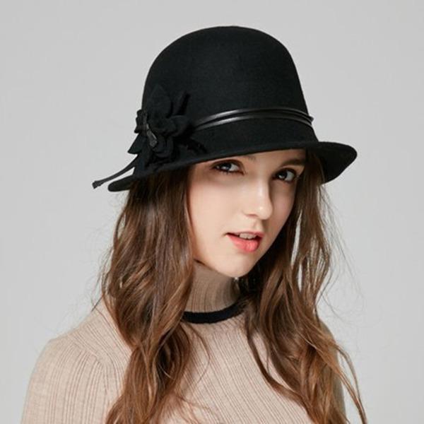 Signore Elegante Lana con Fiore Cappello da bucato