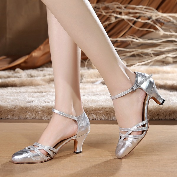Lace Heels Sandals Ballroom With Ankle Strap Dance Shoes
