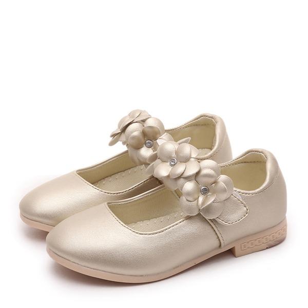 Flicka Stängt Toe konstläder platt Heel Platta Skor / Fritidsskor Flower Girl Shoes med Kardborre Blomma