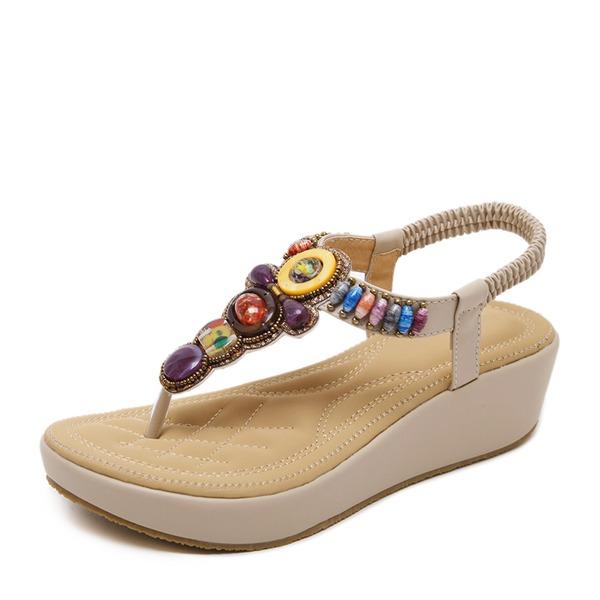 Mulheres Camurça Plataforma Calços com Strass sapatos