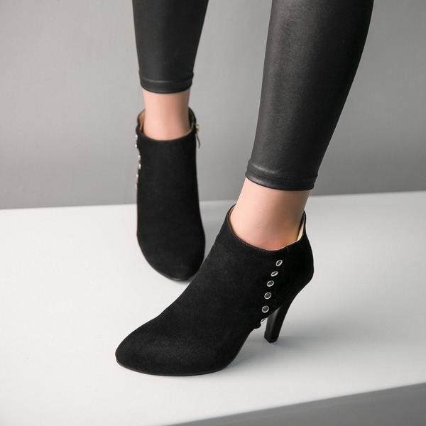 Women's Suede Stiletto Heel Pumps Boots Ankle Boots With Rivet shoes