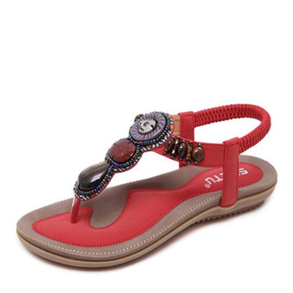 Frauen Kunstleder Flascher Absatz Sandalen Flache Schuhe Flip Flops mit Strass Perlstickerei Schuhe