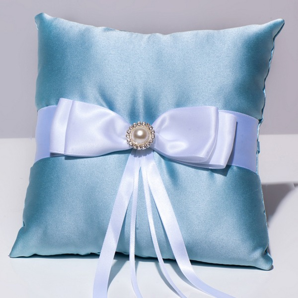 Square Ring Pillow in Satin With Ribbons/Bow/Rhinestones