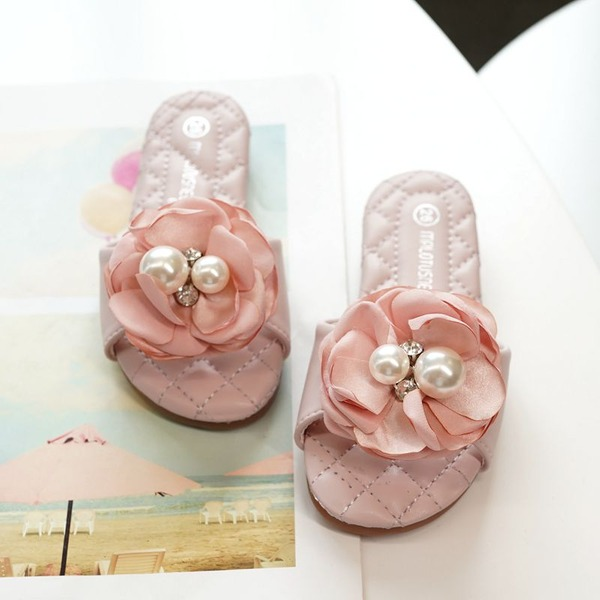 Girl's Peep Toe Slingback Microfiber Leather Flat Heel Flats Slippers With Flower