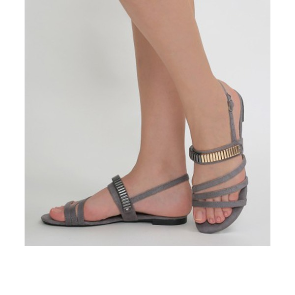 Frauen Veloursleder Flascher Absatz Sandalen Flache Schuhe Peep Toe Slingpumps mit Andere Schuhe