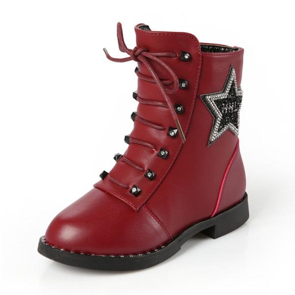 Jentas Round Toe Lukket Tå Ankelstøvler Leather flat Heel Flate sko Støvler Flower Girl Shoes med Blondér Glidelås